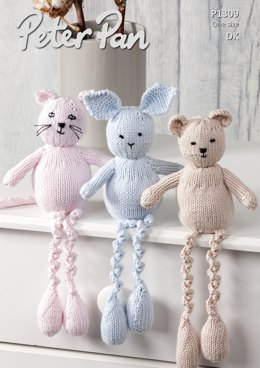 Cat, Rabbit & Bear in Peter Pan Baby Cotton DK - P1309 - Downloadable PDF