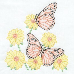 Jack Dempsey Stamped White Quilt Blocks 6Pkg - Butterflies