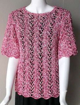 Short Sleeve Lace Leaf Top in Crystal Palace Yarns Party