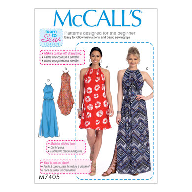 McCall's Misses' Dresses and Belt M7405 - Sewing Pattern