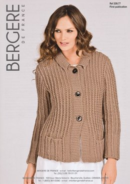 Jacket with Tailored Collar in Bergere de France Pure Nature - 33977