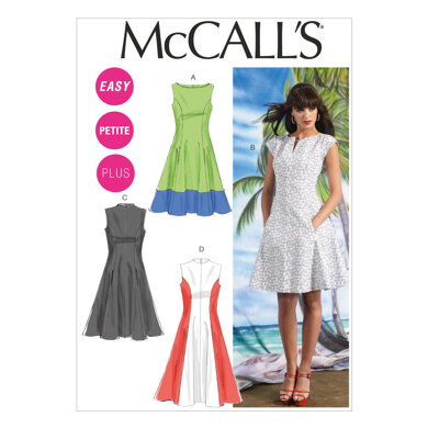 McCall's Misses'/Women's Petite Lined Dresses M6741 - Sewing Pattern