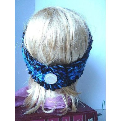 322 CHUNKY STYLE BLUE HEADBAND WITH FLOWER