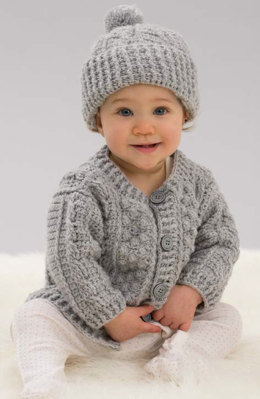 Aran Stitch Cardigan & Hat in Red Heart Anne Geddes Baby - LW4820 - Downloadable PDF
