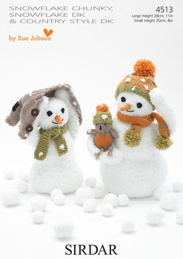 Snowmen in Sirdar Snuggly Snowflake Chunky and Country Style DK - 4513 - Downloadable PDF