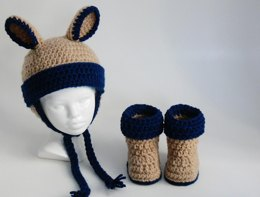 Baby Hat - Booties with Ears and Ear Flaps