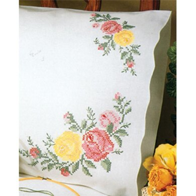 Tobin Stamped Pillowcase Pair 20in x 30in RoseEmbroideryKit