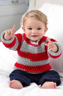 Go Team Go! Baby Sweater in Red Heart Team Spirit - LW4026 - Downloadable PDF