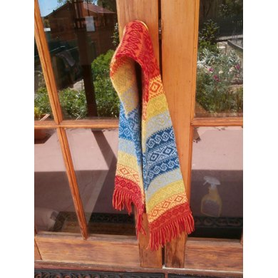 Rainbow double-knitted scarf and stranded colourwork hat