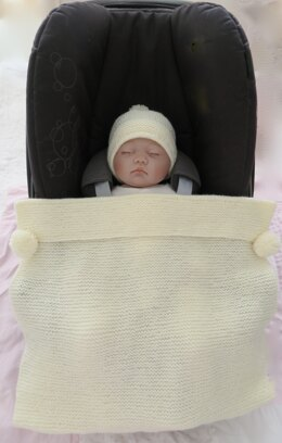 Easy Knit Baby Car Seat Blanket & Hat
