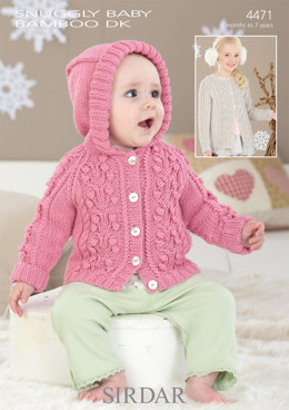 Hooded and Round Neck Cardigans in Sirdar Snuggly Baby Bamboo DK - 4471 - Downloadable PDF