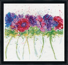 Design Works Modern Anemones Cross Stitch Kit - 40 x 40cm