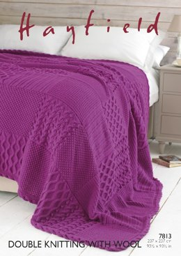 Bed Throw in Hayfield DK With Wool - 7813- Downloadable PDF