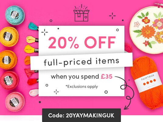 20 percent off full-priced items! Code: 20YAYMAKINGUK