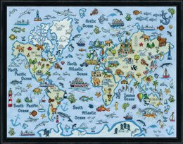 Design Works World Map Counted Cross Stitch Kit - 61 x 46cm