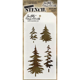 "Stampers Anonymous Tim Holtz Layered Stencil 4.125""X8.5"" - Woodland"