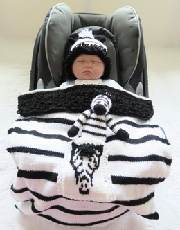 Zebra Baby Car Seat Blanket with separate Hat & Toy