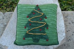 Christmas Tree Pillow with Beaded Trim
