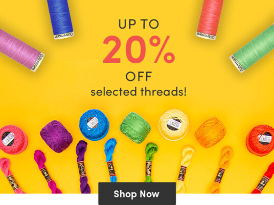 Up to 20 percent off selected threads for embroidery, cross stitch, sewing & quilting!