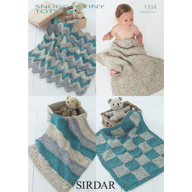 Sirdar Knitting Pattern Abbreviations : Baby Blankets in Sirdar Snuggly Tiny Tots DK - 1334 - Downloadable PDF