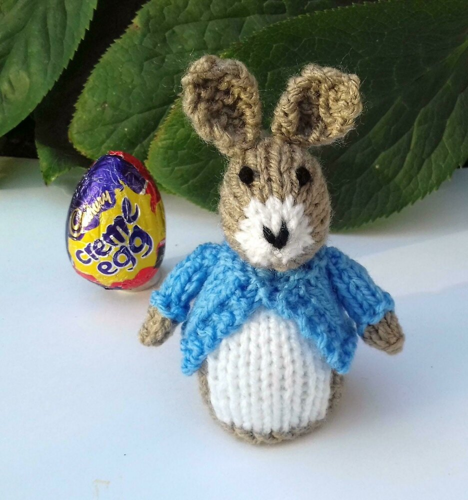 Peter Rabbit Easter Creme Egg Cover Knitting Pattern By