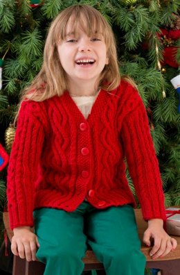 Waiting For Santa Sweater in Red Heart Shimmer Solids - LW3207