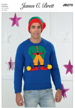 Mens Christmas Elf Sweater and Hat in James C. Brett Top Value DK - JB270