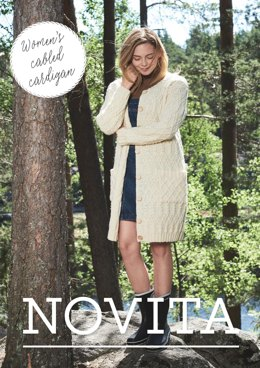 Women's Cabled Cardigan in Novita Nordic Wool - 2 - Downloadable PDF