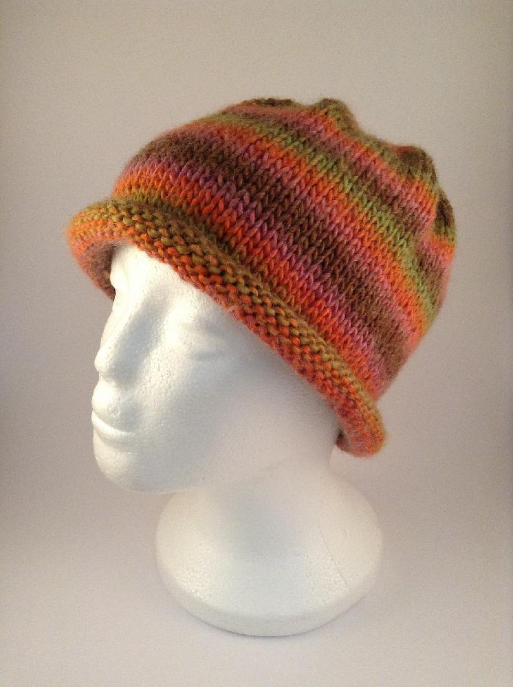 Knit Pattern Beanie With Brim : Easy Stripes Rolled Brim Beanie Hat Knitting pattern by ...