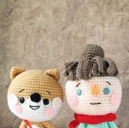 Marin and Sol best friends girl and shiba inu amigurumi pattern