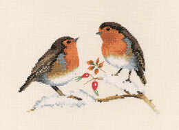 Heritage Winter Robins, 28 count Evenweave Cross Stitch Kit - 17.5cm x 12cm