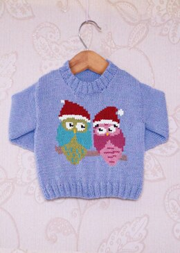 Intarsia - Festive Owls Chart - Childrens Sweater