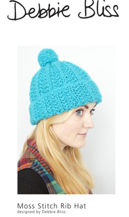 """Moss Stitch Rib Hat"" - Hat Knitting Pattern For Women in Debbie Bliss Paloma"