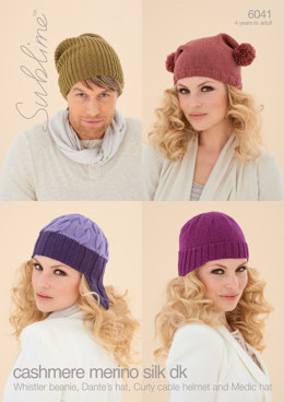 Whistler Beanie, Dante'S Hat, Curly Cable Helmet and Medic Hat in Sublime Cashmere Merino Silk DK - 6041 - Downloadable PDF