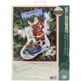 Dimensions Checking His List Cross Stitch Stocking Kit - 16 inches