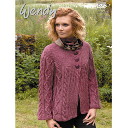 Cabled Jacket in Wendy Aran with Wool 100g - 5700 02b8f38de