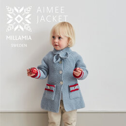 """"""" Aimee Jacket """" - Jacket and Coat Knitting Pattern For Girls in MillaMia Naturally Soft Aran by MillaMia"""