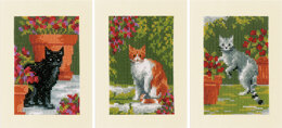 Vervaco Greeting Card Kit Cats Between Flowers Set of 3