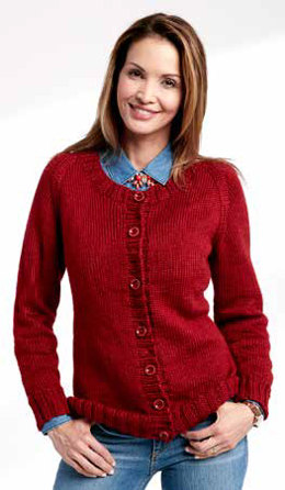 Adult's Knit Crew Neck Cardigan in Caron Simply Soft - Downloadable PDF