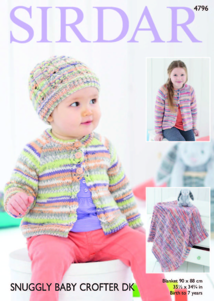 Cardigan Hat And Blanket In Sirdar Snuggly Baby Crofter