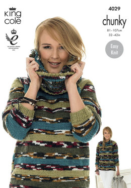a54af3cd5f5a2d Sweater and Cowl in King Cole Big Value Multi Chunky - 4029