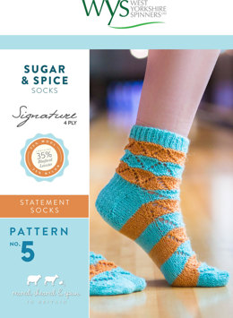 Sugar and Spice Socks in West Yorkshire Spinners Signature 4 Ply - Downloadable PDF