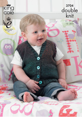 Slipover and Waistcoat in King Cole Melody DK - 3704