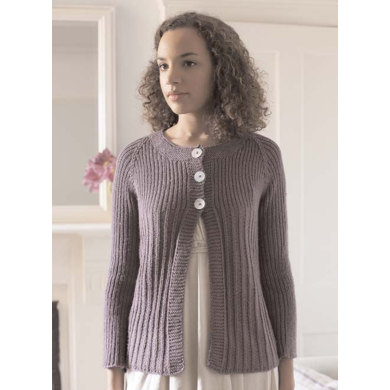 """Lily Cardigan"" : Cardigan Knitting Pattern for Women in Debbie Bliss Aran Yarn"