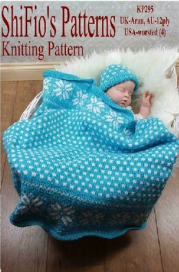 Snowflake Blanket & Hat Knitting Pattern - 295