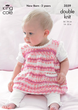 Dress, Sweater, Hat in King Cole DK - 3559