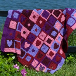 Happy Hearts Afghan in Red Heart Super Saver Economy Solids - WR1658