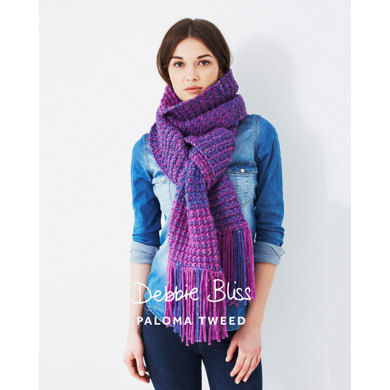 """Two Colour Scarf"" : Scarf Knitting Pattern for Women in Debbie Bliss Super Bulky 