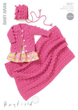 Round Neck Cardigan, Bonnet & Blanket in Hayfield Baby Aran - 4531 - Downloadable PDF