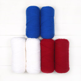 Warm Up America Blanket & Hat by Bhooked - Red Heart Super Saver Economy Solids 6 Ball Color Pack